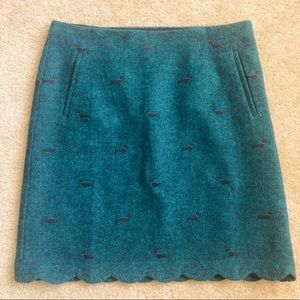 Talbots Scallop Hem Tweed Skirt with Dachshunds